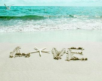 Romantic Beach Photography LOVE Writing on the Sand Green home decor