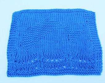 Knit Dishcloth, Dolphin Nautical Blue, Knit Cotton Washcloth, Kitchen Dolphin Dishrag, Blue Dolphin Washcloth, Nautical Blue Dishcloth