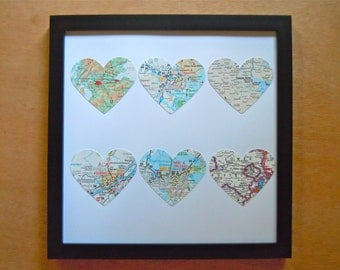 Framed Map Art - Six Maps - Choose Your Maps - Map Hearts - Square Black Frame - Heart Maps - Engagement, Wedding or Anniversary Gift