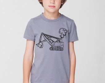 KillerBeeMoto: Limited Release Children's Steam Shovel Excavator T-Shirt on American Apparel Shirt