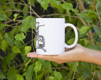 KillerBeeMoto:  U.S. Made Bell Huey Helicopter Front View Coffee Mug (White)