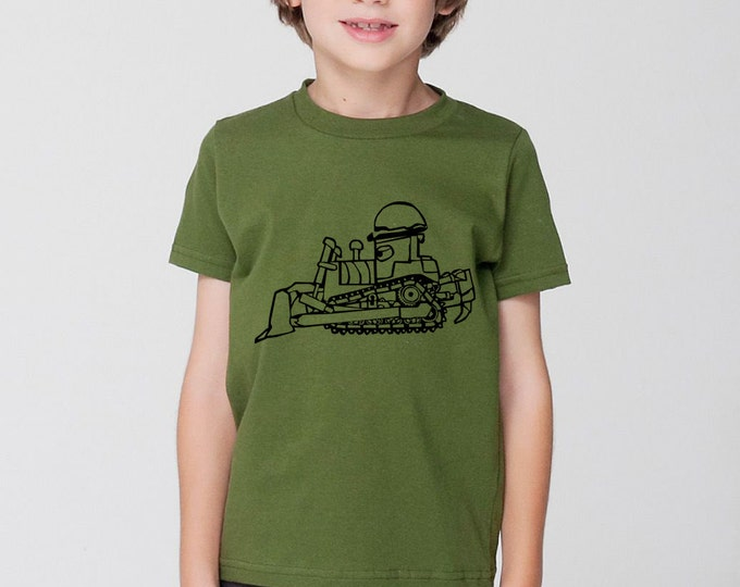 KillerBeeMoto: Limited Release Children's Bull Dozer T-Shirt on American Apparel Shirt