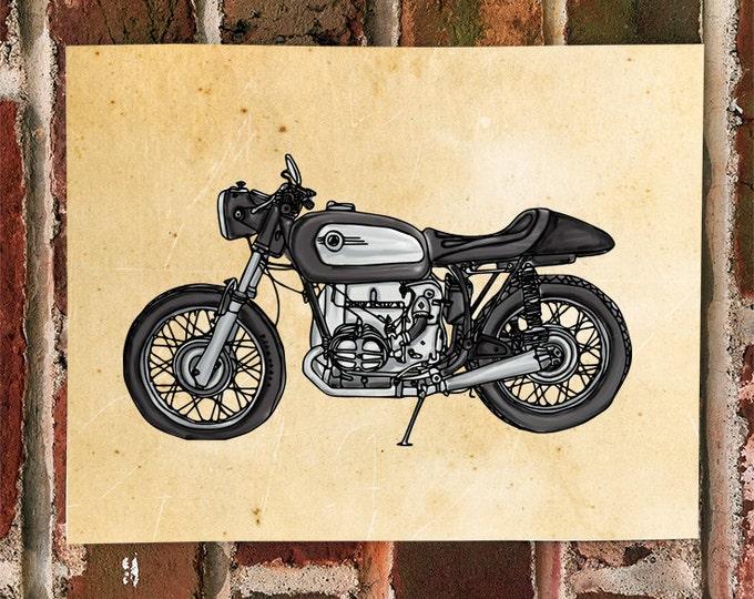 KillerBeeMoto: Limited Print Hand Drawn Vintage German Cafe Racer Drawing 1 of 50