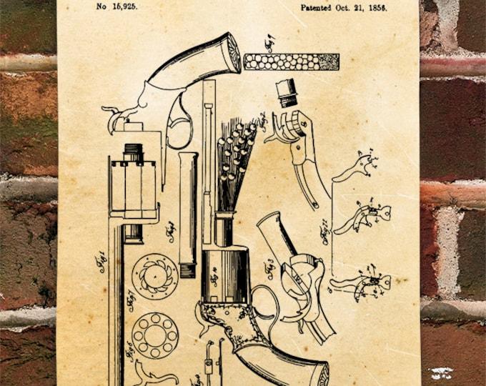 KillerBeeMoto: Duplicate of Original U.S. Patent Drawing For LeMat Pistol Revolver