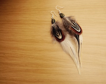 Natural Hen and Badger Hackle Feather Earrings
