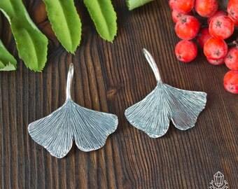 Ginkgo - silver earrings ginkgo tree leaves