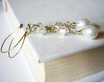 Delicate Freshwater Pearl and Swarovski Crystal 14k Gold Filled Earrings - June Birthstone - Bridal Jewelry - Graduation Gift - For Her