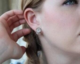 Monogrammed Sterling Silver Earrings, Stud Earrings, Pearl Back Earrings