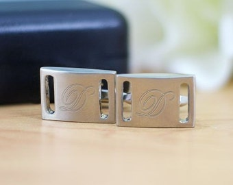 Monogrammed Silver Cuff Links, Brushed Silver Cuff Link
