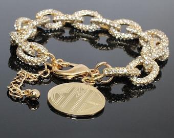 Gold Monogrammed Link bracelet, Link bracelet, Monogrammed bracelet, pave bracelet