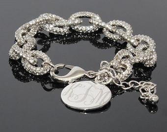 Silver Monogrammed bracelet, link bracelet, bracelet