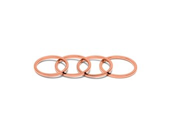 18k Rose Gold Midi Ring Set (4 Rings) - 18k Rose Gold Knuckle Stacking Rings