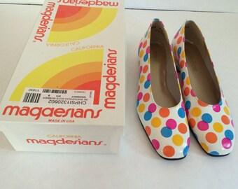 Vintage Magdesians of California Polka Dot Women's Shoes. Size 7.5