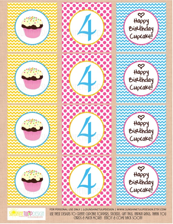 Happy Birthday Cupcake Toppers Printables ~ Printable th birthday cupcake toppers party tags happy