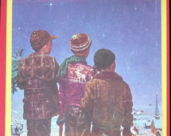 Vtg Christmas Picture Boys with Greenery Looking Over Snowy Town at Night