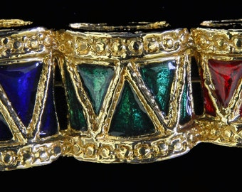 Christmas Drums Pin Goldtone Red/Green/Blue Enamel Bright