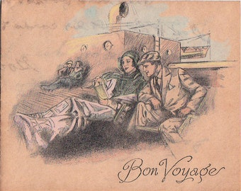 1931 Bon Voyage Card Deck Scene People in Deck Chairs