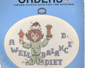 Counted Cross Stitch Kit A Well Balanced Diet Simplicity Short Orders for the Kitchen
