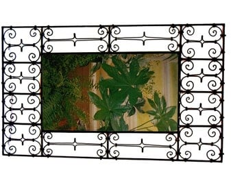 Large Moroccan wrought iron mirror