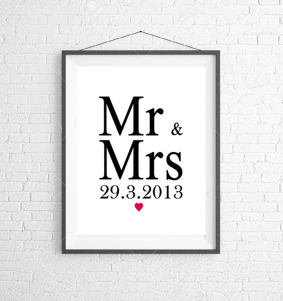 Wall Art With Wedding Date : Items similar to mr mrs personalized wedding date print