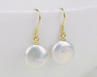 Coin pearl earrings,13-14mm flat round coin pearl earings,white freshwater pearl earrings,sterling silver and coin pearl bridesmaid earrings