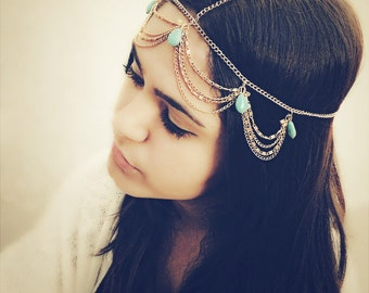 Gorgeous Gold Tone Princess Headpiece With Turquoise Pendants