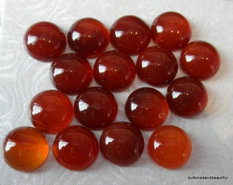 Red carnelian domed gemstone cabochon round 12mm diameter flat back
