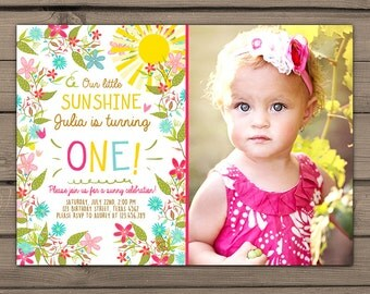 Sunshine Birthday Party Invite Sunshine Lemonade Garden birthday Invite You are my Sunshine Pink lemonade Birthday Digital PRINTABLE ANY AGE