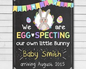 Easter Pregnancy Announcement Egg Specting Pregnancy Reveal Photo Prop Pregnancy Reveal Chalkboard Little Bunny Spring PRINTABLE digital DIY