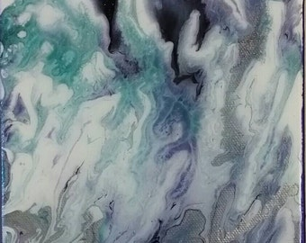 6x6, original, abstract, acrylic, painting with resin.