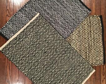 Hand Woven Diamond Pattern Leather Rug 20 x 30 inches- Chindi Rug - Rag Rug - Woven Rug