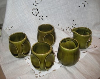 Unique 5 piece Vintage Avocado Green Ceramic Mugs with Creamer made in Japan