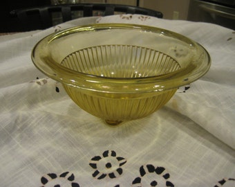 Mid Century Yellow Federal Glass Bowl with Square Bottom