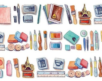 Rubber Stamp Washi Tape -- Japanese Washi Tape -Deco tape--25mm x7M