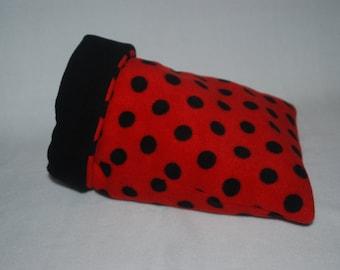 Large Fleece Snuggle Sack , Sleeping Bag for Guinea Pig , Pygmy Hedgehog , Degu , Rat etc ( Red & Black Polka Dot , Black )
