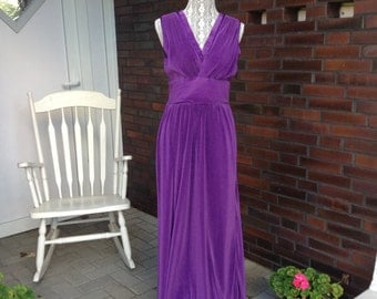 70s Long Satin Dress. Pleated purple satin, size Medium - Made in West Germany, party dress, formal dress.