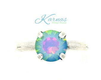 OPAL RAINBOW 8mm Crystal Chaton Adjustable Ring Made With Swarovski Elements *Antique Silver *Karnas Design Studio *Free Shipping*