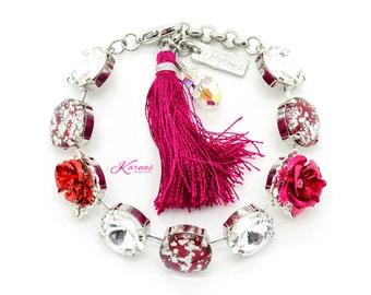 BIRTHDAY GIRL 14mm Mixed Media Bracelet Made With Swarovski Elements *Rhodium Silver *Karnas Design Studio Exclusive *Free Shipping