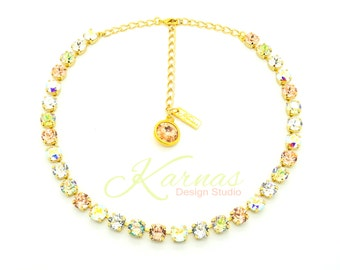 CHAMPAGNE BUBBLES 8mm Crystal Chaton Necklace Made With Swarovski Elements *Pick Your Finish *Karnas Design Studio *Free Shipping*