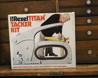 1955 Vintage Industrial Rexel Titan Tacker With Original Box Instructions and Staples