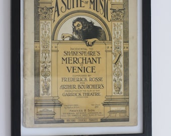 Shakespeare poster a suite of Music incidental to Shakespeare's Merchant of Venice