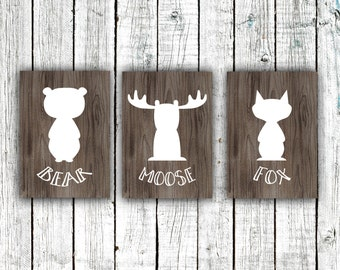 Nursery Printables, Woodland Series, Bear, Moose, Fox, Silhouettes. Wood, 3 5x7 Instant downloads #383