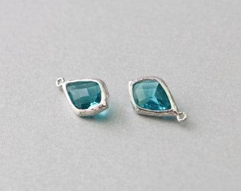 Blue Zircon Teardrop Glass Pendant . Polished Original Rhodium Plated . Brass Framed . 10 Pieces / G2029S-BZ010