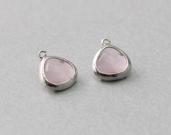 Ice Pink Teardrop Glass Pendant . Polished Original Rhodium Plated . Brass Framed . 10 Pieces / G1013S-IP010