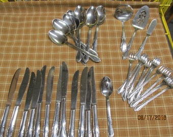 Vintage 30 piece lot Simeon L & George Rogers Stainless Flatware Silverware Homestead Knives Shrimp Forks Serving Spoon Spatula Spoons Lot
