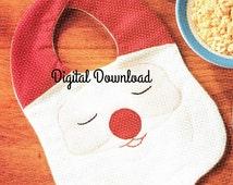 Santa Bib, Embroidery Machine Appliqué, Vintage Sewing, PDF Instant, Digital Download