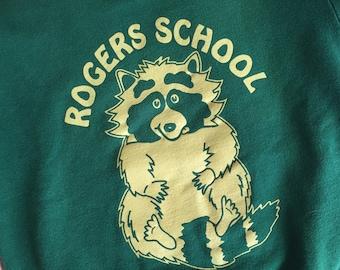 Super Adorable Vintage Youth Medium Rogers School Raccoon Sweatshirt