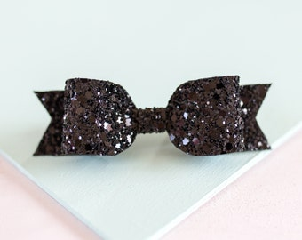 Medium Black Glitter hair bow on Hair Clip - perfect for all ages!