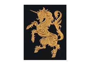 BATH towels 6 pc SET Embroidered - Heraldry Unicorn  - more colors available