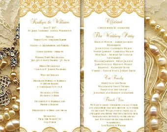 Wedding Program Template Vintage Lace Gold Printable Tea Length Order Of Service Word